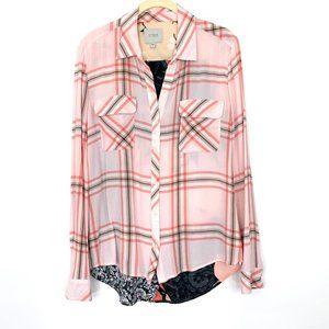Guess Plaid Patchwork Button Up Shirt